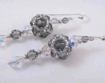 Swarovski Crystal  Beadwork Earrings in Black Diamond and Crystal AB
