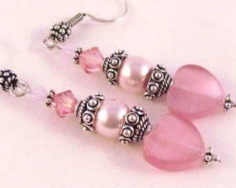 Pink Glass Hearts and Swarovski Crystal and Pearl Dangle Earrings