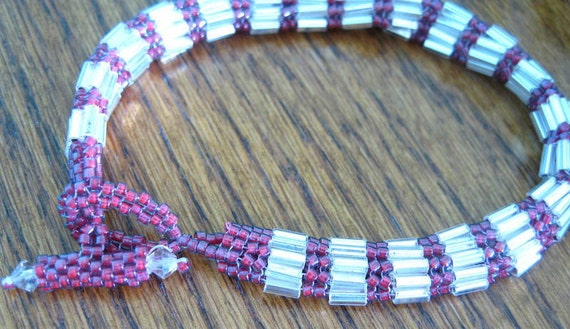 Herringbone Stitched Bracelet In Silver and Raspberry with Swarovski Crystals