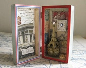 Paris Shadow Box Assemblage, Eiffel Tower, French Postage Stamps, Post Cards, Triumphant Arch, Blue, White and Red