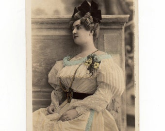 Vintage Postcard of a Beautifully Dressed French Madame, Ephemera