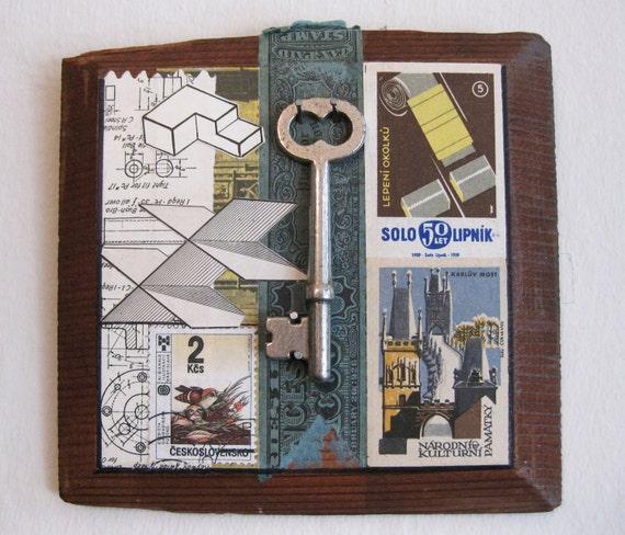 Emergency Key, Original Collage, Assemblage, Vintage Wood Cigar Box Lid