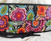 Crochet Hook Organizer Roll Up One of a Kind Big Flowers Polka Dot