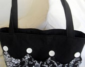 Tote Bag Sm Knitting Project Bag Black White French Flowers