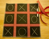 Tic-Tac-Toe Chalkboard Placemat and Coordinating Bag for Chalk