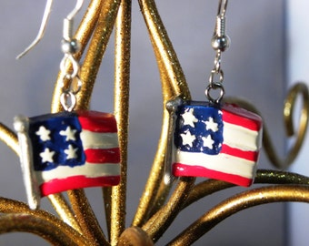 Patriotic American Flag Earrings