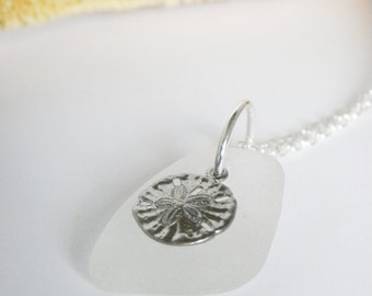 Sea glass and sand dollar necklace