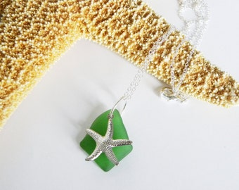 Sea glass and starfish necklace - choice of colors