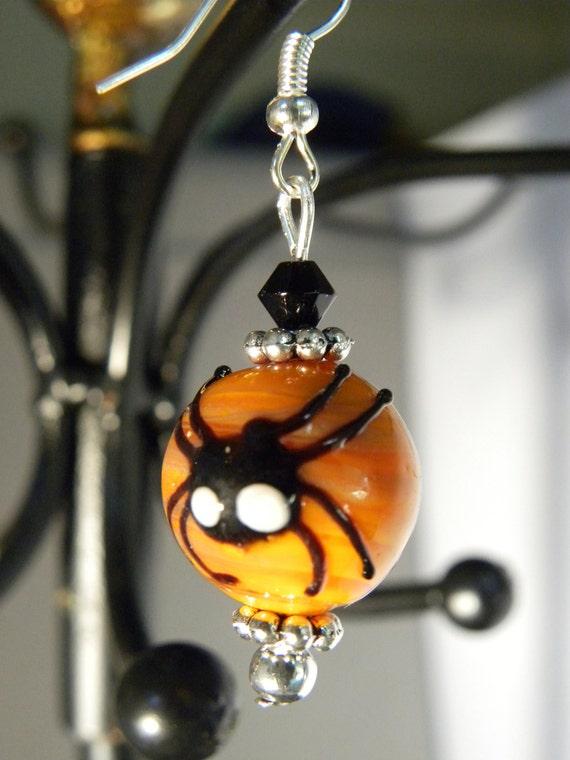 Halloween earrings, Halloween spiders on pumpkin earrings, orange Halloween jewelry