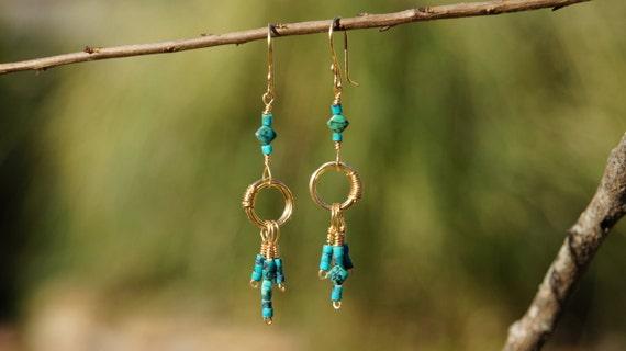 Nefertari Turquoise Dangle Earrings