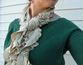 RESERVED for REBEKAH: Upcycled T-Shirt Ruffle Scarf in Oatmeal with Hand Stenciled Design and Removable Flower