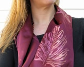 RESERVED for REBEKAH: Infinity Scarf with Hand Stenciled Leaf Design in Shades of Gold and Copper