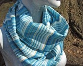 Striped Infinity Scarf in Shades of Blue- Extra Long