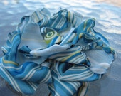 Blue Flower Hair Clip made with Striped Fabric and Glass Bead Center
