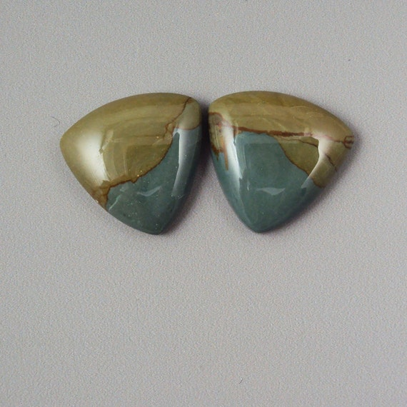 Desert Queen Picture Jasper Triangular Cabochon Pair