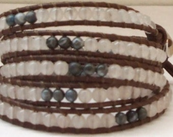 5 Wrap Bracelet with Rose Quartz and Denim Jasper on Brown Greek Leather