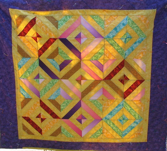 Twin Size Quilt, Cotton, Handmade, geometric patterned quilt, colorful quilt