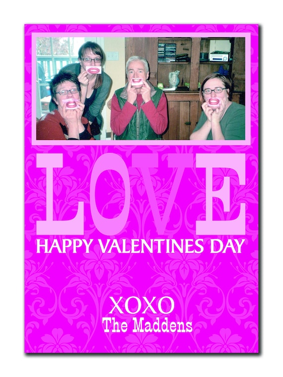 LOVE Damaske Photo Valentines Card (DIY or printed)