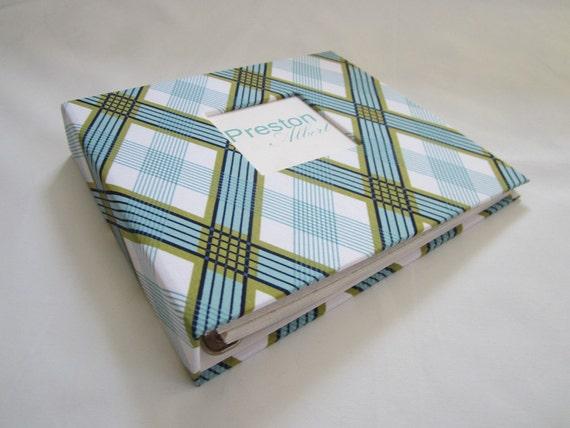 Baby Memory Book...Dark Blue Stripe Album and Monthly Onesie Sticker Set...Completely HANDMADE..The Sweet Rhino
