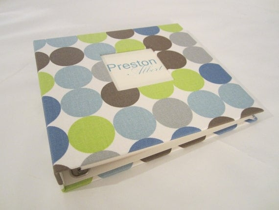 Reserved Baby Memory Book...Blue and Green Mod...Completely HANDMADE..The Sweet Rhino