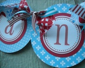 SALE Candy Bar Buffet Sign Banner Red Aqua Blue