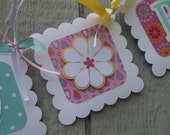 SALE Bride to Be Banner Decoration for Bridal Shower or Bachelorette Party Pink Aqua Yellow