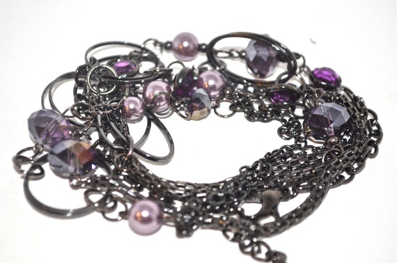 Versatile Gunmetal Necklace, variety Purple Beads.