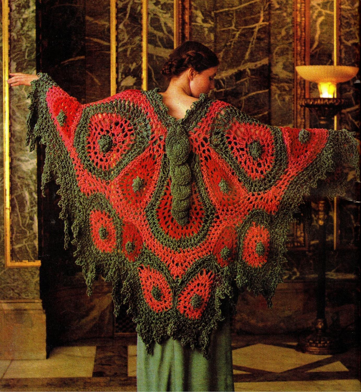 Crochet Butterfly Shawl Free Pattern : Vintage 70s Crochet Butterfly Shawl PDF Pattern by ...