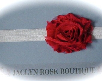 SALE custom stretch white HEADBAND with red shabby rose flower girl newborn baby toddler adult  photo prop valentines day ..