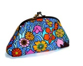 Bright Retro Floral Pattern Purse, Pink, Orange and Blue Clutch for Women / make up bag
