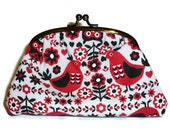 Kokka Red & Gray Owl and Bird Print Clutch Purse for women with Amy Butler Spotty Interior fabric / make up bag