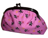 Cute Pink Black Cat Kokka Print Clutch Purse for women with Amy Butler Spotty Interior fabric / make up bag