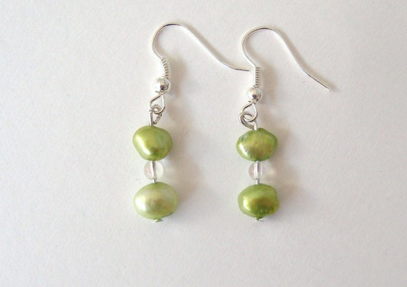 Fast & Free Shipping, Lime Green Freshwater Pearl Earrings / Gift under 10