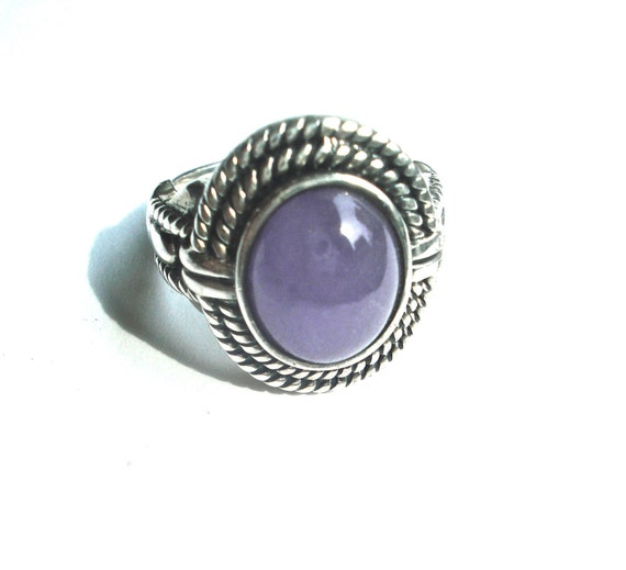Sterling silver ring purple stone vintage tumbled amethyst