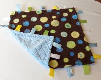 SALE - Baby Boy - Sensory Binky Blanket - Fleece/Minky - Measures 17 x 17 - Ready to Ship