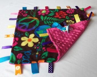 Baby Sensory Binky Blanket - Fleece/Minky - Flowers and Peace - Measures 17 x 17 - Ready to Ship