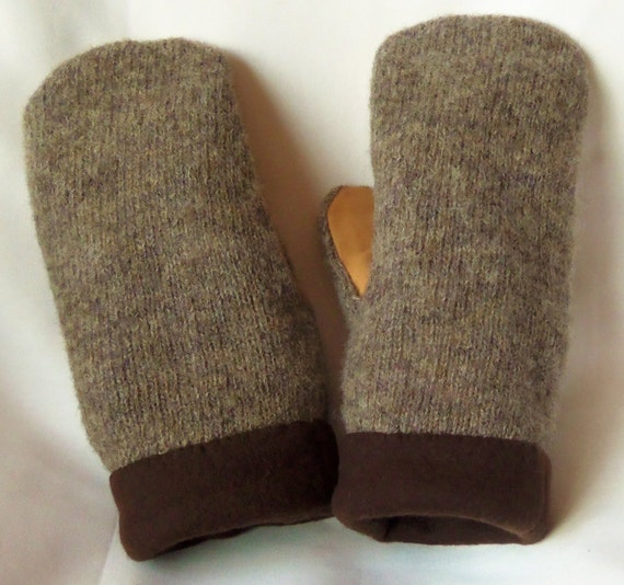 Brown/Leather - Felted Wool Mittens - Womans