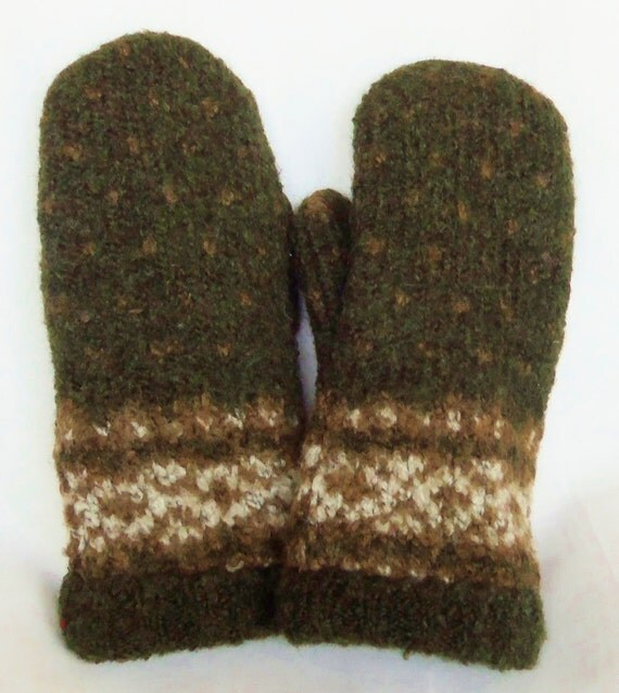 Dark Green - Felted Wool Mittens - Womans Medium