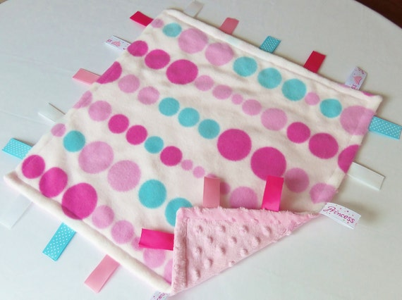 Pink and Teal Poke A Dots - Learning Sensory Blanket - Minky and Fleece