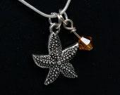 Starfish Charm Necklace, Orange Crystal Necklace, Topaz Swarovski