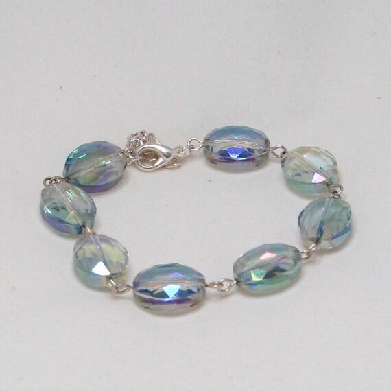 Rainbow Bead Bracelet and Silver, Beautiful Statement Chunky Jewellery