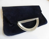 blue suede for vintage handbag with metal handles and golden lining 70'