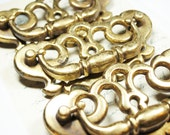3 Antique Drawer Pulls Keyhole Brass Hardware  - Steampunk Vintage Altered Art