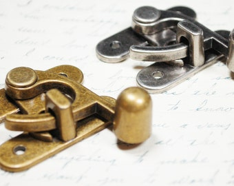 2 Small Swing Clasps Hardware - Antiqued Silver and Brass -  Two Steampunk Closures