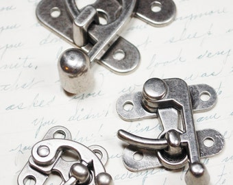 Lot of 3 Swing Clasps - Different Sizes of Antiqued Silver Hardware -  Three Steampunk Closures