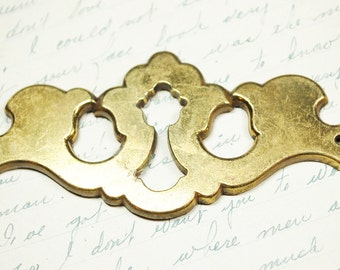 Antique Keyhole Brass Escutcheon - Steampunk Vintage Hardware for Altered Art