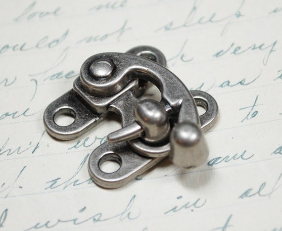 Small Swing Clasp Antiqued Silver Hardware -  Steampunk Closure for Leatherworking
