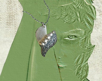 Pendant silver 999,  white bronz