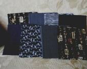 8 Piece Black Medley Fat Quarter Fabrics