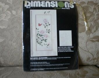 Vintage Oriental Blossoms No Count Cross Stitch Complete Kit